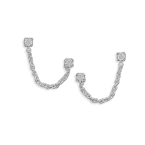 Crystal Double Sterling Silver Earrings