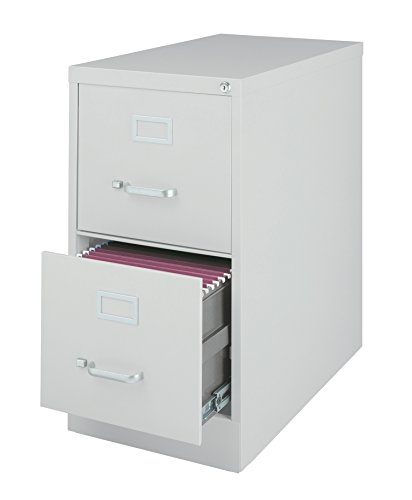 Office Dimensions Commercial 2 Drawer Letter Width Vertical File, 25-Inch Deep, Light Gray