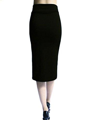 Moulante YuanDian Mi Casual Slim Droite Noir Jupe Unie Femme Fourreau t Crayon Haute Fit Longue Couleur Taille Midi Jupes r6Ft6w4q