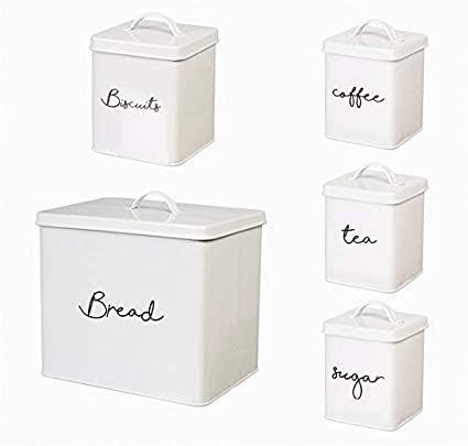 Amazon.com: Cypress Home White Steel Kitchen Canisters, Set ...