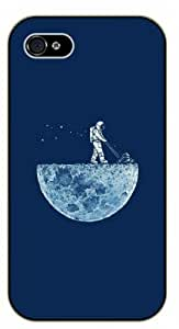 For SamSung Galaxy S4 Mini Case Cover Astaonaut mowing the moon - black plastic case / Space, Stars, Fantasy, Funny