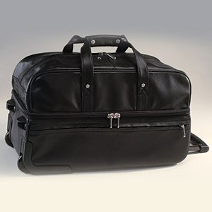 Royce Leather Luxury Rolling Trolley Luggage Handmade in Leather Duffel Bag, Black, One - Luggage Wheeled Rolling Leather
