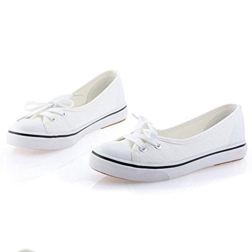 Mujer Blanco Chicas Redonda Minetom Lona Zapatos Moda Punta Ocio Espadrilles Plano Tacón FAHwqpdPwn
