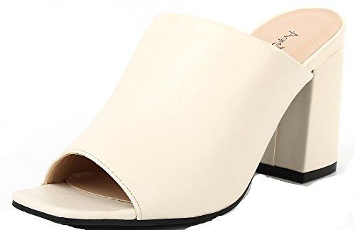 Mujeres AgeeMi de Sólido Tacón Abierta Sandalia Grueso Puntera Tacón Blanco Shoes 55wqnF86