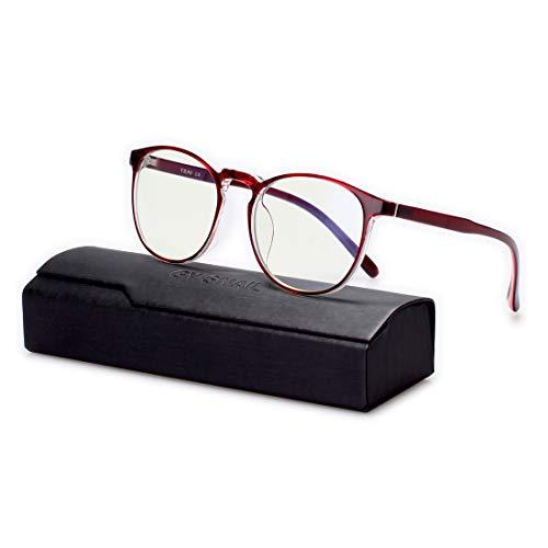 Gy Snail Gaming Glasses Blue Light Blocking Men, Blue Light Filter Computer/Reading EyeglassesWomen, Clear Lens, Round Frame - 80s Eyeglasses Frame