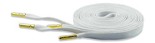 19d67bf288beb FINTOCO Designer Flat Waxed Shoelaces with Gold Metal, White, 60 inches