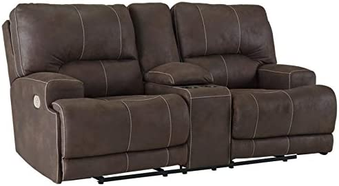 Signature Design by Ashley Kitching Power Reclining Loveseat Console Adjustable Headrest Java