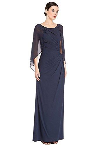 Badgley Mischka Draped Silk Cape Sleeve Evening Gown Dress