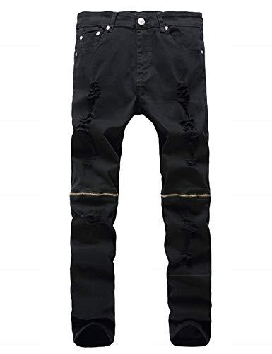 Denim Nero Pantaloni Ragazzi Fit Uomo Casual Da In Regular Skinny Attillati Strappati Cerniera Classiche Con Jeans Distrutti aarZ6Swqx