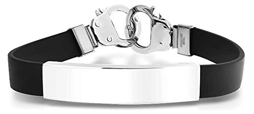 Rubber Handcuff - Id Blank Name Bar Plate Engravable Black Rubber Handcuff Clasp Partners in Crime Stainless Steel Wrist Bracelet for Men