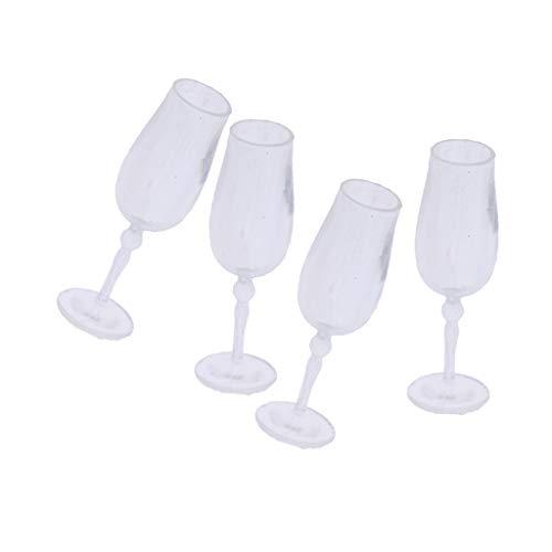SM SunniMix 1:12 Scale Dollhouse Accessories: 4pcs Miniature Goblet Wine Glasses Champagne Cups Model, Dollhouse Decorations Kit