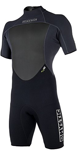 Back Zip Steamer - Mystic 2018 Brand 3/2mm Back Zip Shorty Black 180055 Wetsuit Sizes - Small