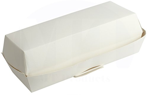 Disposable White Hinged Paper Hot Dog Tray / Clamshell Container by MT Products - (25 Pieces)