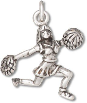 rleader with Pom Poms Charm with Split Ring - Item #9414 (Cheerleading Sterling Silver Bracelets)
