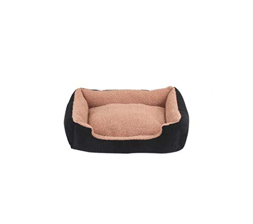 (MOAAA 5 Size Soft Pet Dog Beds Wateroof Bottom Warm Winter Puppy Bed House Durable Corduroy Fleece Cat Bed,Black,70Cm)