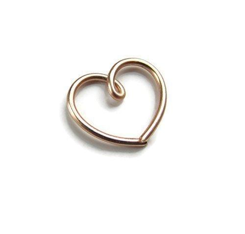 Handmade Rose Gold filled Daith Heart Earring 18Gauge Single 1 PC Designed by Grace ()