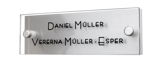 Modernes Türschild / Namensschild a1 - Plexiglas / Acrylglas Gravur inklusive design by GravUp. + 2er Set Edelstahl Rostfrei V2A Zierkappen + Gewinderingen.