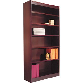 Alera Wood Finish Bookcase - Alera, Square Corner Bookcase 6- Shelf Mahogany Finish Veneer