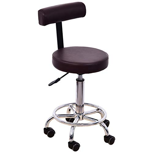 BarberPub Adjustable Hydraulic Rolling Swivel Salon Stool Chair Tattoo Massage Facial Spa Stool Chair With Backrest and Wheels 6005 (Brown)