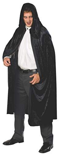 Rubie's Full Length Crushed Velvet Hooded Cape, Black, One Size -