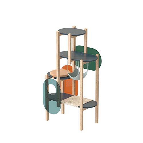 GBY Kratzbaum Katze Klettergerüst, Lowood Klettersäule Massivholz Katzensprungplattform Kombination, Katzenklettergerüst Katzennest Katzengreifersäule, geeignet für Katzen im Innenbereich, 110 * 48 *