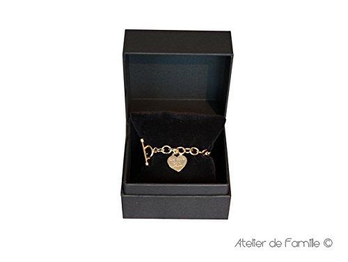 Bracelet chaîne bijou avec deux breloques Plaqué or 21 cm Coeur plat Coeur plat