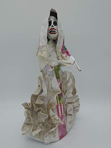 Dia Paper Los De Muertos Mache - COLOR Y TRADICIÓN Mexican Catrina Doll Day of Dead Skeleton Paper Mache Dia de Los Muertos Skull Folk Art Halloween Decoration Dancer # 1538