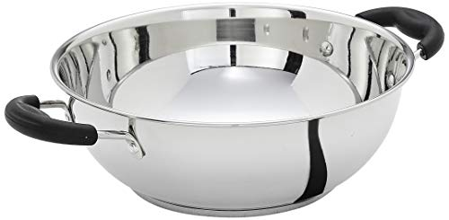 Amazon Brand - Solimo Stainless Steel Induction Bottom Kadhai (25cm)