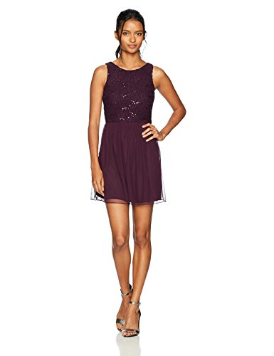 Speechless Sleeveless Dress with Sequin Lace Bodice (Junior's), Eggplant, 11