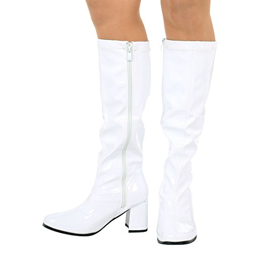 ByPublicDemand Krista Womens Mid Block Heel Knee High Boots White Patent BnfE7aJuq