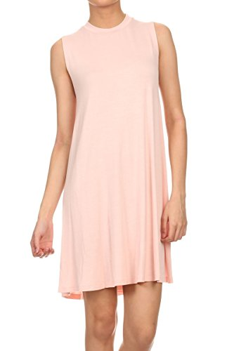 ReneeC. Women's Natural Bamboo Solid A Line Mini Short Dress - Made in USA (2X-Large, Pink) -