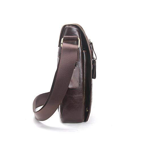 Bolso Bandolera Sola de marrón Bolsa Hombre Bolso la Cuero Messenger Cremallera Haixin pat0xt