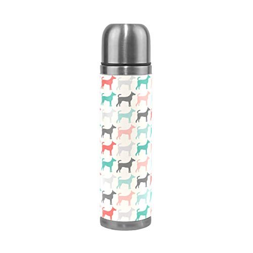 Vacuum Insulated Stainless Steel Water Bottle, Stainless Steel Travel Mug, Stainless Steel Thermo Mug for women and man. Great for Commuter, Camping and Office - Dog Training Run Colorful