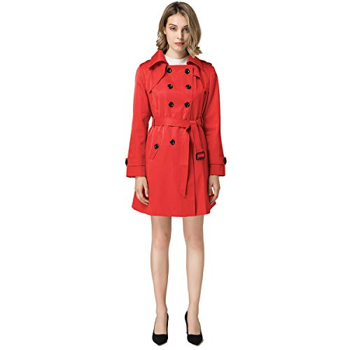 Tan Double Breasted Belt Trench - Blostirno Women's Notched Lapel Long Jacket Double Breasted Mid Length Trench Coat with Belt (Red US Size-2 / Asian Size S)