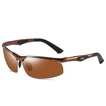 Mjia sunglasses Gafas Deportivas Hombre,Gafas de Sol polarizadas, Aluminio Magnesio Deportes Ciclismo Vasos, Día y Noche de conducción, Marrón: Amazon.es: ...