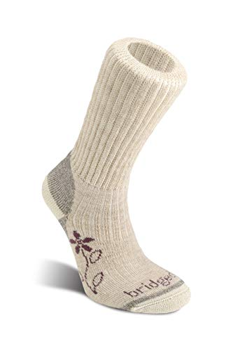 Bridgedale Women's Hike Midweight Boot Height- Merino Comfort Socks, Natural, Large ()