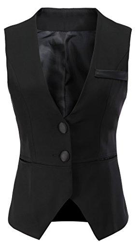 Vocni Women V-Neck Business Slim Fit Skinny Button Down Suit Dressy Vests Waistcoat,Black,US M (Fit Bust 35