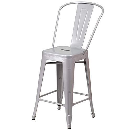 KLS14 Modern Vintage Style Premium Metal Construction Indoor-Outdoor Bar Stool Curved Backrest Vertical Slat Design Counter Height Side Chair Home Office Decor Furniture - (1) Silver #2023