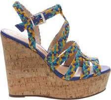 Schutz Caron Olympian Blue HIgh Heel Cork Wedge Platform Multi Color Sandals (10, Olympian Blue)