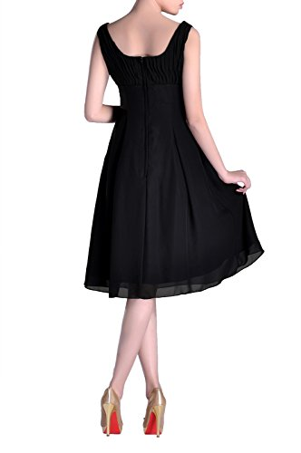 Mother Occasion Formal Bridesmaid Brides Dress Length Black Pleated the of Knee Special qpxgOnwX