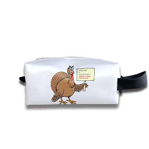 Durable Zipper Storage Bag Makeup Handbag Funny Turkey Quotes Toiletry Bag With Wrist -