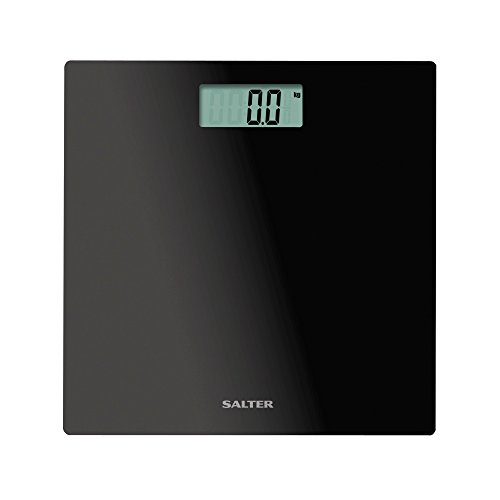 Salter Electronic Bathroom Scales, Toughened Glass Body, Measure Weight Metric / Imperial, Easy to Read Digital Display, Instant Precise Reading with Step-On Feature, 15Yr Guarantee - Black