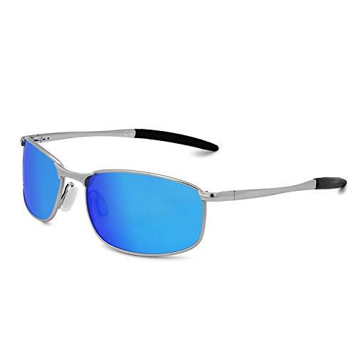 AMZTM Para Hielo Plateado Azul Sol Gafas De Deportivas Hombre Gafas Polarizadas rqnrF4UwS