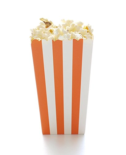 Orange Stripe Popcorn Boxes (12 Pack) - Autumn & Fall Halloween Party Movie Theater Style Gourmet Mini Popcorn Containers