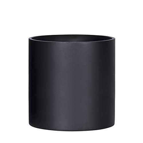 Indoor 10 Inches Round Modern Planter Pot - Matte Black - Easy Grow Fiberglass Resin Planter with Drainage Hole and Plug - by D'vine Dev
