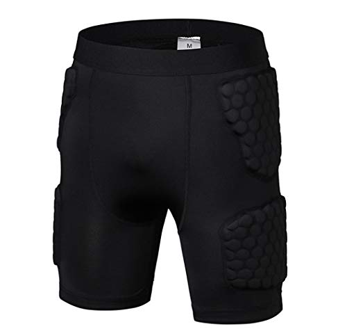 - Men's Padded Basketball Shorts Padded Compression Shorts Impact Shorts Butt Hip Protective Gear Guard Impact Underwear Pads Black M