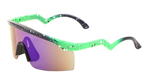 Daytona Semi Rimless Wrap Around Shield Polarized Sunglasses (Blue & Green Frame, Purple Flash) (Sunglasses Rimless Shield Womens)