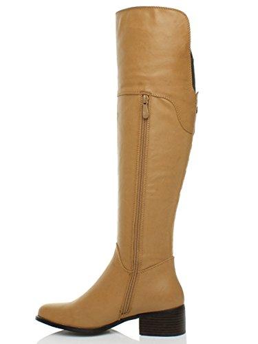 Ajvani Womens ladies winter mid heel flat zip riding long high knee calf boots size Yellow Camel Tan CuxByjxQ