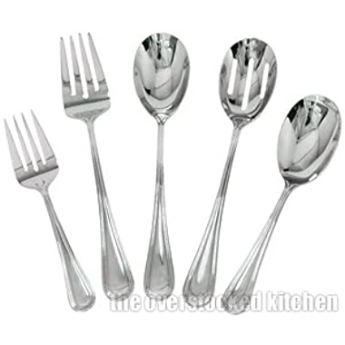 Complete Elegant Regency Line 5-Piece Flatware Serving Set, Utensil Serving S...