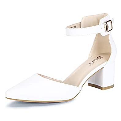 IDIFU Women's IN2 Pedazo-C Mid Chunky Heels Closed Pointed Toe Ankle Strap D'Orsay Pumps Low Block Heel Comfortable Dress Sandals Shoes White Size: 5